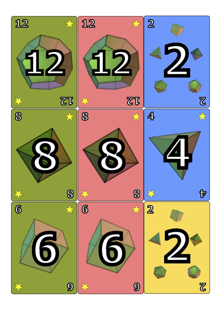 Kortteja on numerolla 1-16 ja viittä eri väriä.